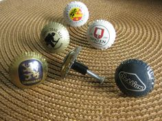 Upcycled Bottle Cap Drawer Knobs, Bar Accessory, Beer Bottle Cap, try as golf ball markers Beer Bottle Caps, Bottle Cap Art, Beer Caps, Diy Bottle, Drawer Knobs, Drawer Pulls, Glue Crafts, Bar Accessories, Boyfriend Gifts