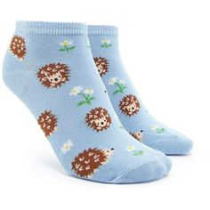 Forever21 Porcupine Print Ankle Socks ($1.90) ❤ liked on Polyvore featuring intimates, hosiery, socks, ankle socks, forever 21 socks, patterned hosiery, print socks and floral socks