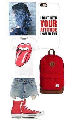 """""""Rolling Stones attitude going up"""" by angelofadorability on Polyvore featuring Boohoo, Denim & Supply by Ralph Lauren, Converse, Casetify and Herschel"""