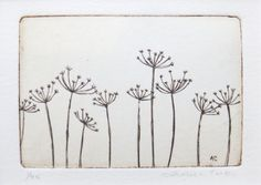 A playful row of cow parsley (Anthriscus sylvestris) when the flowering season has finished leaving its spidery skeleton. This etching has been Simple Flower Drawing, Simple Line Drawings, Flower Art, Botanical Line Drawing, Cow Parsley, Chalk Art, Textile Art, Embroidery Patterns, Screen Printing