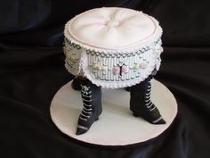 Foot stool cake photo: ribbon embroidery and smocking with fondant, gumpaste and royal piping This photo was uploaded by torkis69