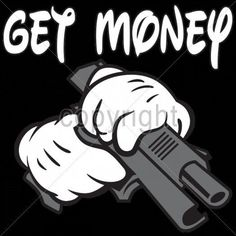 Cool Tshirt Get Money Cartoon Hands Gun Pistol Gangsta Thug Life Biker Street #Unbranded #GraphicTee