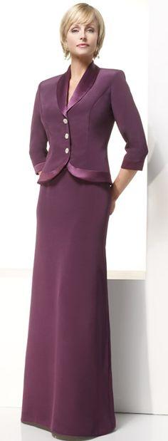 Column 3/4 Sleeves Formal Floor Length Burgundy Mother Of Brides Dress