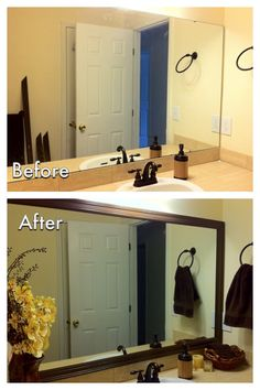 DIY Bathroom Mirror Frame Need to do this in my apartment for a quick modernization. Bathroom Mirrors Diy, Bathroom Renos, Framed Mirrors, Small Bathroom, Round Mirrors, Framing Mirror In Bathroom, Diy Frame For Mirror, Diy Bathroom Ideas, Bathroom Mirror Makeover