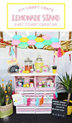 DIY LEMONADE STAND built from craft crates. Lemonade Recipes, Printables, and Directions on how to make your own. East Coast Creative