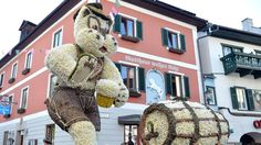 A photo taken on May 2016 shows a rabbit with Austrian traditional cloth and a beer made of Daffodil in a parade during the Daffodil Festival in Bad Aussee, Austria. (BARBARA GINDL/AFP/Getty Images) The Most Amazing Flower Festivals in the World (PHOTOS) Flower Festival, The Weather Channel, World Photo, How To Make Beer, Topiary, Amazing Flowers, Daffodils, Austria, Festivals