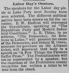 Labor Day Orators. The Saint Paul Globe of Saint Paul, Minnesota, on August 9, 1890.  | Victorian America Celebrates Labor Day | KristinHolt.com