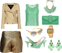 """""""Green and gold II"""" by ymonelos on Polyvore"""