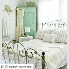 ~I keep coming back to all the details in this beautiful room, the wrought iron bed frame, the gorgeous green corner cupboard, the pretty bedding, the wood planked walls. Thanks for sharing @shabby_chichomes