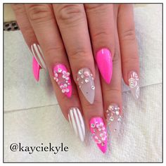 Hot Pink Crystal and White Stiletto Nails