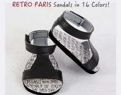 American Girl Doll Sandals, AG Doll Shoes - Modern RETRO PARIS Sandals with Front Strap, Enclosed Heel & Side Closure