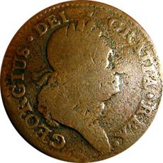 URBI-ET-ORBI……My Bucket List Journals.'Worn' Hibernia Half Penny.The unnatural orange   color indicates cleaning, which lowers value.