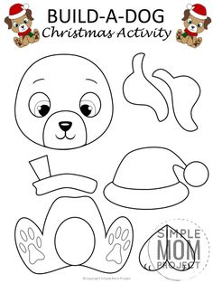 Printable Christmas Puppy Dog Craft with FREE Template - Simple Mom Project Christmas Crafts For Kids To Make, Christmas Activities, Diy Christmas Ornaments, Holiday Crafts, Christmas Ornament Template, Christmas Decorations, Printable Christmas Cards, Printable Crafts, Free Printable