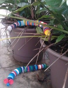 Manage all those plastic lids you've collected: make them into the Rainbow Serpent. A quick and easy recycled craft, instructions here: http://thejunkwave.com/2012/03/22/make-the-rainbow-serpent-from-recycled-plastic-lids/.
