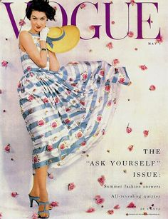 Blustery and beautiful on the cover of Vogue, 1953. #vintage #fashion #magazine #1950s #roses