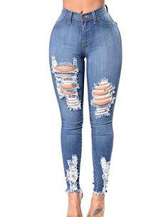 16b313e3c1 Mesdames Taille Haute Pantalon en Mode La Denim De en Difficulté Déchirée  Crayon 20 Ans Denim