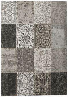 Vintage-Teppich Patchwork grau hellgrau Schurwolle Wolle