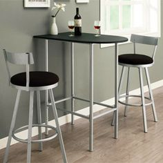 Space Saver Dining Room Bar Table with 2 Swivel Stools - temporary idea for kitchen.