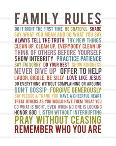 Family Rules - Subway Art - Instant Download *Back in the Shop* in Two sets of colors.