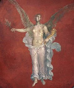 Detail from a Pompeian fresco, winged female figure with cornucopia and a bough