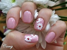 Spring nail design - maybe before my baby shower with a darker pink and only ring finger with design