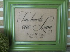 Valentines - Wedding - Anniversary - Two Heart One Love Burlap Print -