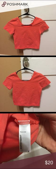 American Apparel Jersey Spandex Crop Top Bright tangerine colored Spandex Crop Top bought on The AA online store. In great condition. Only been worn a couple times like the pink one. Again, too bright for my taste! American Apparel Tops Crop Tops