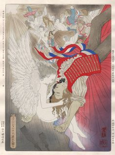 My angel depicted in a traditional Japanese woodblock print artwork
