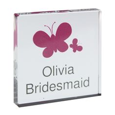 Personalised Butterflys Pink Small Crystal Token - Olive and Finch