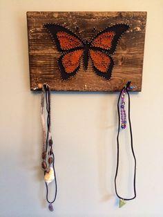 Monarch Butterfly Beauty String Art Jewelry by Edgeofthewoodsart