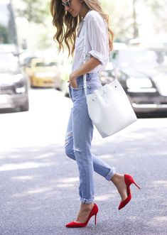 red pumps always make an outfit