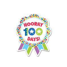 HOORAY 100 DAYS RIBBON REWARD. Celebrate completing 100 Days of School with these fun Hooray 100 Days sticker badges! Students will proudly wear these color badges all day long to celebrate this milestone. Parents will enjoy seeing students come home with their badge and be excited to hear about their 100th Day of School festivities.