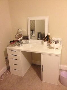 DIY Makeup Vanity Desk Set Up - ALEX Ikea Hack, Vanity Girl Hollywood and MORE!
