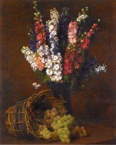 Larkspurs and white raisins, 1876. Victoria Fantin-Latour. French
