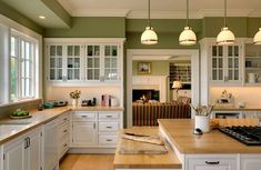 Green Kitchen Wall Colors White Cabinets Painting With Comtemporary Design Traditional Paint For