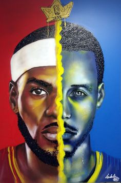 Lebron x Kurry portrait painting by Andaluz The Artist   #Lebron #james #steph #kurry #basketball #painting #abstract #andaluztheartist #amazing
