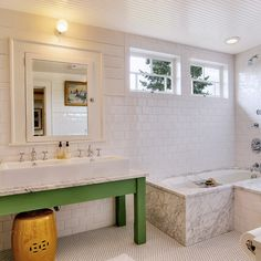 White and green bathroom with row of white framed medicine cabinets over green vanity and carrara marble countertop over vintage black and white tile floor. Bathroom Kids, White Bathroom, Master Bathroom, Bathroom Green, Kids Bath, Bathroom Beadboard, Bathroom Vanities, Ceiling Beadboard, Family Bathroom