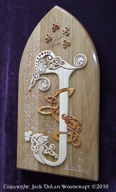 Wooden Celtic Knot, Letter J from the Book of Kells by jackdolanwoodcraft on Etsy, $399.00