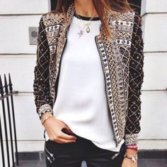 It really is all about the details. Trends: detailing, coat, t shirt, jeans, denim, layered jewelry. Occasions: casual outfit, class, 2017, date, shopping, coffee house, friends night .