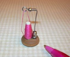 Miniature Thread Cone on Stand - Dollhouse Sewing Room inspiration