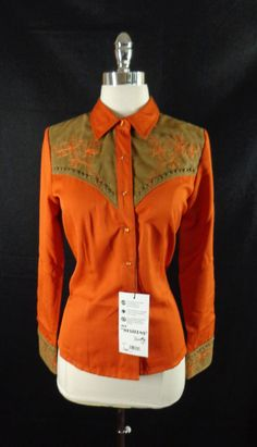 NWT Rare Women's Scully Burnt Orange Embroidered Steampunk Western Shirt-XS #Scully #ButtonDownShirt #Doyoureallyneedone