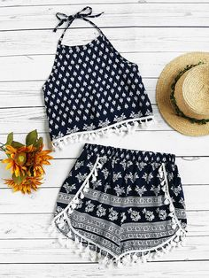 Shop Halter Neck Printed Random Tassel Trim Top With Shorts online. SheIn offers Halter Neck Printed Random Tassel Trim Top With Shorts & more to fit your fashionable needs. Girls Fashion Clothes, Teenage Outfits, Summer Fashion Outfits, Cute Fashion, Outfits For Teens, Girl Fashion, Cute Comfy Outfits, Girly Outfits, Cute Summer Outfits