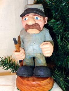 Small Hand carved wood Confederate soldier by WeAreOutofOurGourds, $35.00