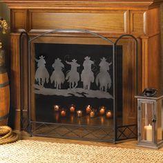 Metal Cowboy Round up Fireplace Screen