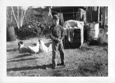 Black and White Vintage Snapshot Photograph Boy Chickens Farm Yard 1950'S | eBay