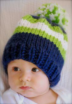 Loom Knitting, Baby Knitting, Bandanas, Crochet Football, Knitted Hats, Crochet Hats, Kids Beanies, Seattle Seahawks, Seahawks Team