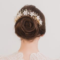 Gold wedding hair vine with freshwater pearls - 'Isca'