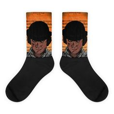 These socks are extra comfortable thanks to their cushioned bottom. The foot is black with artwork printed along the leg with crisp, bold colors that won't fade. Cool Socks, Awesome Socks, Orange Socks, Us Man, Bold Colors, Artwork Prints, Legs, Cotton, Black