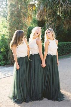 Modest Forest Green Tulle Ivory Lace Top Bridesmaid Dresses Bridesmaid Dress Green, Bridesmaid Dress A-Line, Sleeveless Bridesmaid Dress, Bridesmaid Dress, Bridesmaid Dress Lace Bridesmaid Dresses 2020 Bridesmaid Skirt And Top, Two Piece Bridesmaid Dresses, Tulle Bridesmaid Dress, Lace Bridesmaid Dresses, Wedding Bridesmaids, Wedding Dresses, Prom Dresses, Bridesmaid Tops, Wedding Lace