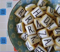 Scrabble cookies. Wonder if you could do the same thing on a larger scale...using pepperidge farm chessman and ice on top of the imprint of the chess cookie? Its a possible time saver too!